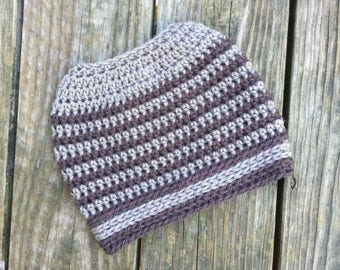Ready To Ship Messy Bun Dark Gray and Light Gray Messy Bun Crochet Hat Beanie Women's Crochet Hat Winter Accessories Gifts For Her