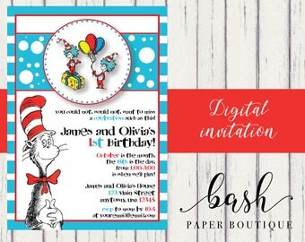 Thing 1 and Thing 2 Birthday Invitation, Twin Invitation, Sibling Invitation, Dr Suess, Cat in the Hat