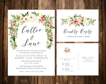 Pink, Blush & White Watercolor Floral Wedding Invitations; Printable OR set of 25