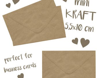 10 MINI kraft ENVELOPES with note card / for cards and invitations / 5,5x10 cm envelopes / small / tiny envelopes / coin / favour envelopes
