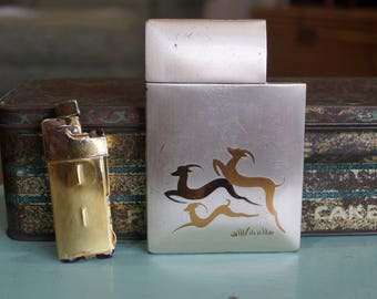 1940's Lite-O-Matic Gazelle Cigarette Case & Lighter Elgin