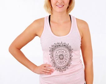 Women's MANDALA Racerback Tank Top, Organic Cotton, Yoga Clothes, Womens Tank, Heather Pink