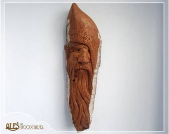 Odin the Wanderer - woodspirit hand carved in 14.5'' (36cm) cottonwood bark, Norse mythology wood carving