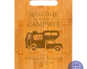 Personalized Truck Camper Cutting Board 11.5 x 8.75 - Welcome to our Campsite Bamboo Custom Engraved Cutting Board - Camping Kitchen Decor