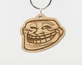 Troll Emoji - Trollface Emoji Keychain - Internet Troll Emoji - Internet Forum Troll - Wooden Troll Emoticon Key Ring - Troll Face