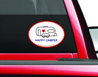 Happy Camper Decal - Double Wheel Camper Decal - Camping Trailer Bumper Sticker - Double Wheeled Camper Decal - Trailer - Camper Sticker