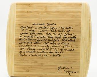 Personalized Family Recipe Cutting Board 13.5x11.5 - Custom Engraved Recipe Board - Grandmas Recipe Moms Recipe Cutting Board - Recipe Board