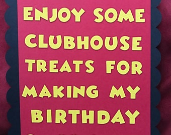 Mickey Mouse treat sign. Mickey Mouse birthday party. Muckey mouse clubhouse sign.