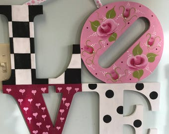 Hand painted black and white check love sign