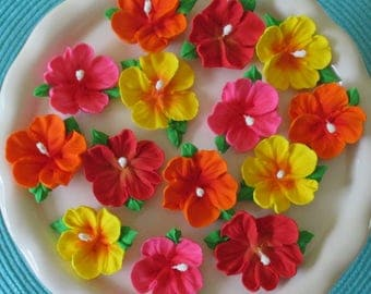 """Royal Icing Hibiscus Flowers with Leaves Brightly Colored 2""""  Pkg. of 24 pieces"""