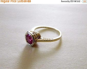 ON SALE Art Deco two tone gold antique engagement filigree ring pink ruby size 6.25 White Wile and Warner