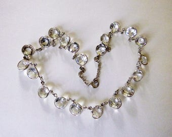 Art Deco clear open back  crystal paste sterling silver choker formal bridal necklace 16 inches