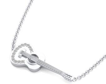 Diamond Guitar Pendant Jewelry