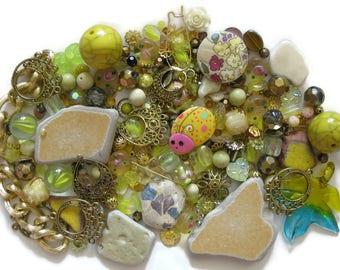 Mosaic Pieces Ceramic Tile Beach Pottery Terrazzo Tile Over 300 Pc Mix Yellow Beads Goldtone Findings Pendant Upcycle Embellishments Marbles
