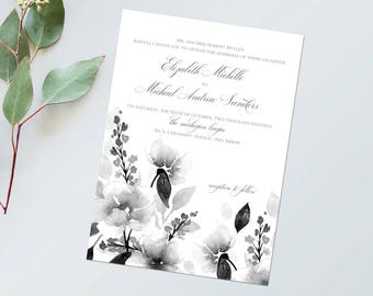 Custom Wedding Suite - Black and White Watercolor Invitation - Printable Invitation Kit - Watercolor Wedding Invitations - Elegant Invites