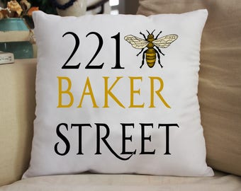 221 Bee Sherlock Holmes Throw Pillow Great Gift 14x14