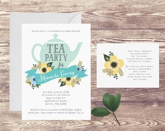 Tea Party Baby Shower Invitation with Book Insert Card, Floral Baby Shower Invite, Baby Sprinkle, Book Instead of Card Insert