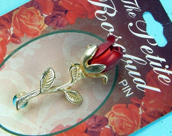 Vintage 18 K Gold Finish The Petite Rosebud Rose Flower Blossom Brooch Pin
