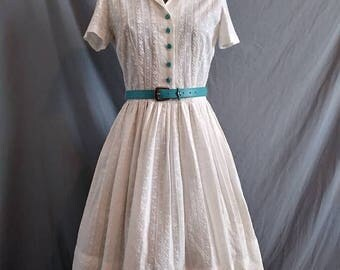 On Sale 1950s Embroidered White Cotton Belted Day Dress Full Gathered Skirt 34 Bust
