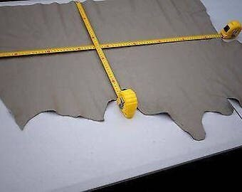 Beige Cowhide Elmo Upholstery Leather Piece 85 x 46 cm