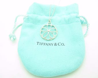 "Tiffany & Co. Sterling Silver Flower Garden Diamond Necklace 16"""