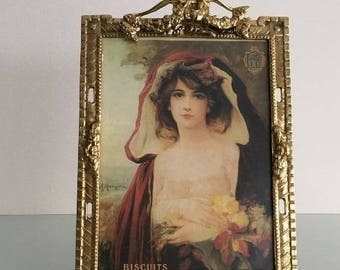 Large Vintage brass photo frame in two positions to place.