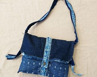 Clearance upcycled frayed edge denim small tote