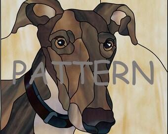 Vitrail motif lévrier, Portrait de chien, pour le vitrail ou mosaïque.