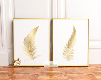Gold Feather Print, Feather Art Print, Bohemian Wall Print, Nursery Art Print, Gold Foil Print