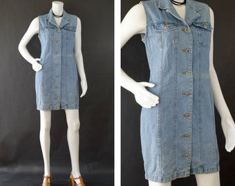 Vintage Denim Dress, Blue Jean Sleeveless Dress,  Button Up Mini Dress, Denim Jumper Dress, 80s Cotton Denim Dress, Women's Size Medium