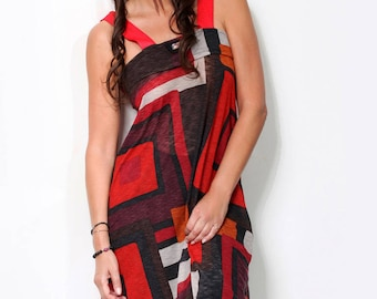 black and red graphic fine long top ecru Kayapo