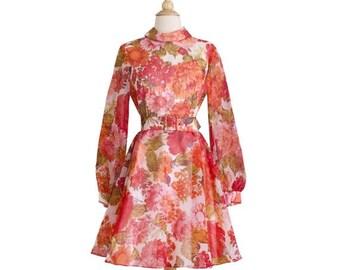 25% OFF SALE 1960s Vintage Pink and Orange Floral Organza Dress, Midcentury 60s Sheer Mock Turtle Neck Bishop Sleeve Day Dress Party Dress S