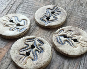 Oak Leaves I. - Set Of Handmade Ceramic Unique Buttons
