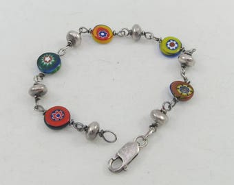Colorful Millefiori Murano Glass Beads in sterling silver bracelet-  approx. 7 inches