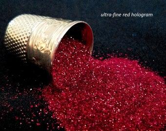 glitter - red hologram ultra-fine polyester