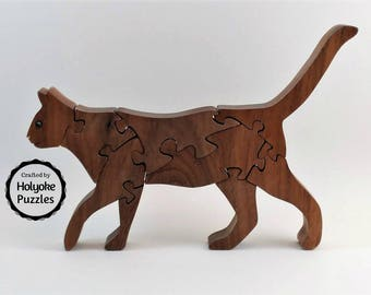 Cat puzzle - wooden puzzle - jigsaw puzzle in walnut with Swarovski crystal eyes