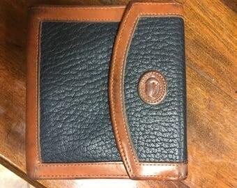 Vintage Dooney & Bourke Black Pebble Brown Leather Wallet