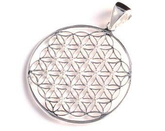 filigree flower of life pendant with cubic zirconia