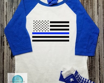 Police Flag Shirt, Blue Line American Flag, Police Baby, Police Mom, Police Dad, New Baby Gift, Baby Shower Gift