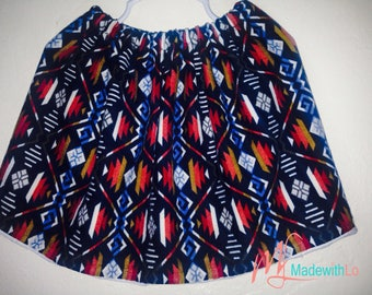 Bright Red and Blue Print Stretchy Skirt