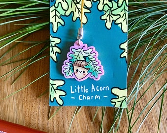 Acorn Charm, light pink acrylic cute zipper pull, plant, cute illustrated, quirky gift idea, geeky accessories, phone charm