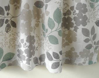 Kitchen Curtains, White Gray Cafe Curtains, Kitchen Valance, Linen Natural Valance, Gray Floral Curtains, Window Valance