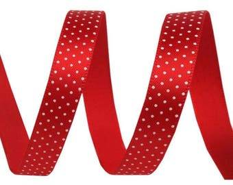 3 M Red Ribbon with white polka dots, 10 mm wide