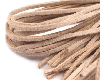 10 suede effect 1 m x 3 mm beige suede leather cords
