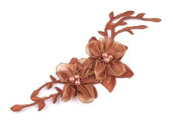 Fusible flower organza and Brown beads
