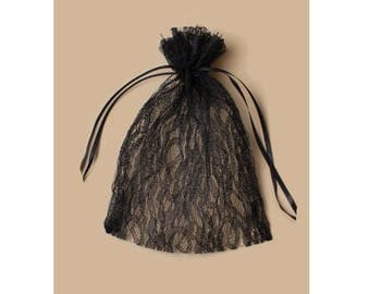 3 bags pouches in Black Lace 15 cm