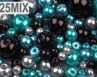 25 MIX - Turquoise gray 4-12 mm black glass beads