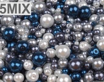 MIX 5 - 4-12 mm blue white glass beads