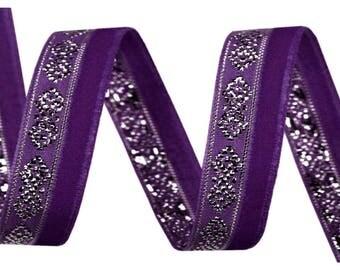 Purple velvet and silver lurex 10 mm Ribbon