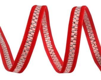Red velvet and silver lurex stripe Ribbon